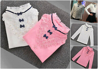 Blouse Girls Top Shirt Lace Autumn Winter Long Sleeve White Pink Age 2-12 years