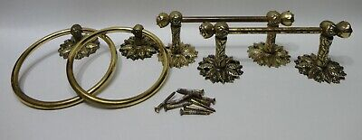Vintage Brass Wall Mount 2 Matching Towel Rings & 2 - Small Bar Pair Solid Brass