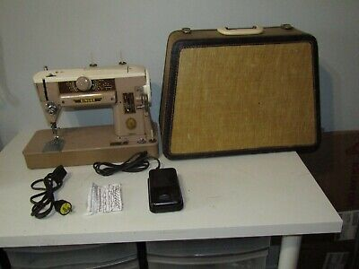 Vintage Singer 401A Slant-O-Matic Sewing Machine LOADED Pedal With Case