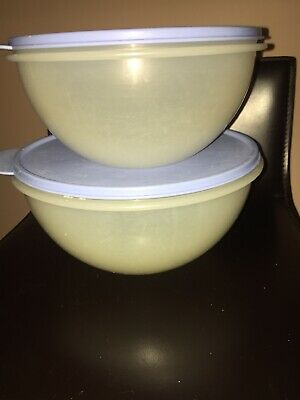 2518A & 2519A Tupperware Wonderlier Sheer Bowls With Blue Lid