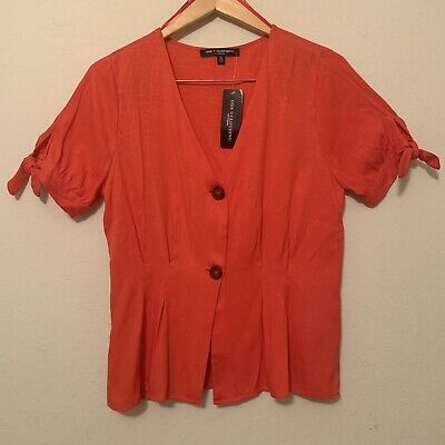 NWT One Heart Clothing Pleated Button Top Sz L