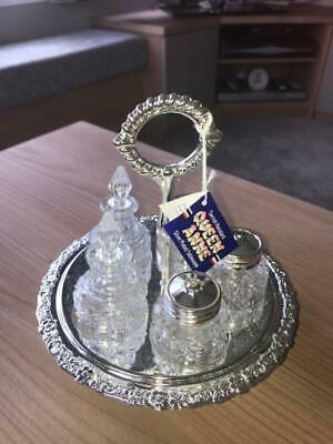 Queen Anne Silver Plated Revolving Condiment Set Vintage English New Condition