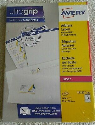 Avery Address Labels - 100 Sheets 1400 Labels - 99.1mm x 38.1mm