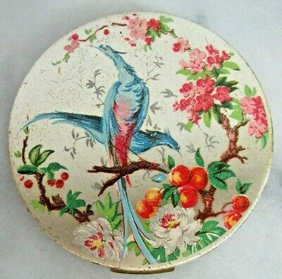 Vintage Zell Fifth Avenue Compact COLORFUL BIRDS OF PARADISE ORANGES BLOSSOM 3.5