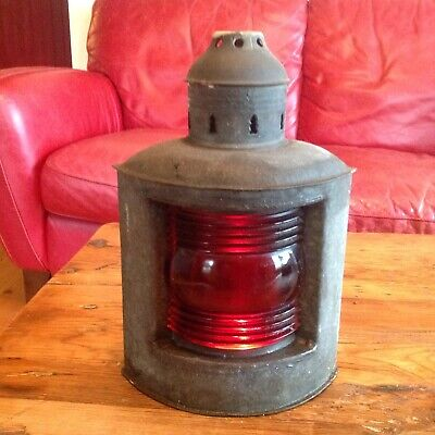 Antique - Nautical Ships Lantern Lamp thick Red Lens Galvanized Steel Boat Lite