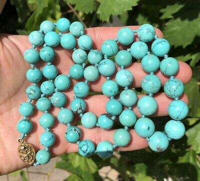 """Chinese Export Graduated Natural Persian Spiderweb Turquoise Bead Necklace 30"""""""