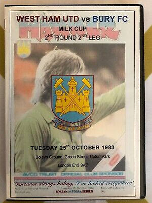 WEST HAM UNITED vs BURY, RECORD 10.0 WIN 1983 DVD 'CLASSIC HISTORIC BOLEYN GAME'