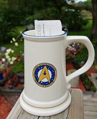 Vtg STAR TREK USS Enterprise NCC-1701-A Ceramic Stein Pfaltzgraff Beer Mug 16 oz