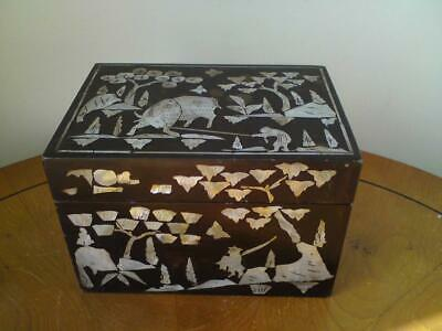 19th Century Inlaid Papier-Mâché Mother of Pearl Chinese Buffalo & Pine Tree Box