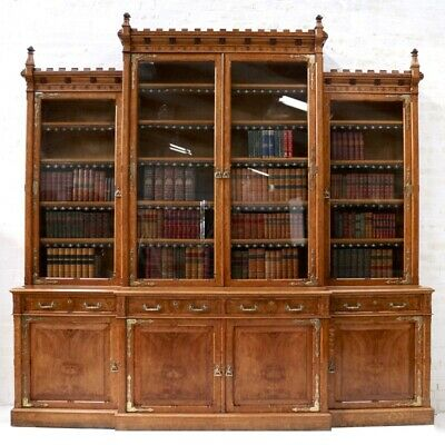 Large Antique Victorian Gothic Revival Pollard Oak Breakfront Bookcase