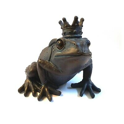 Large Bronze Frog Crown Prince Garden Ornaments Distressed Vintage Antique Style