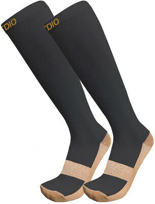 Plus Size Wide Calf 15-20mmHG Knee High Graduated Copper Compression Socks