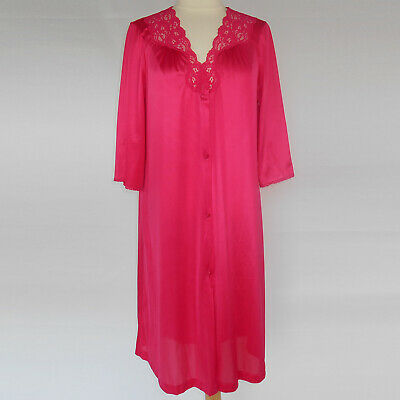 Vintage Vanity Fair Nylon Robe Housecoat Gown Hot Pink Lace Button Front S