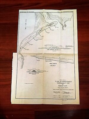 1949 Map Plan of Improvement Narragansett Pier to Narrow River South Shore RI