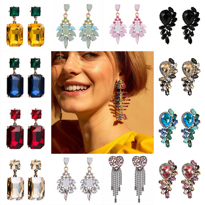Women Rhinestone Crystal Tassel Earrings Ear Stud Drop Dangle Elegant Jewelry