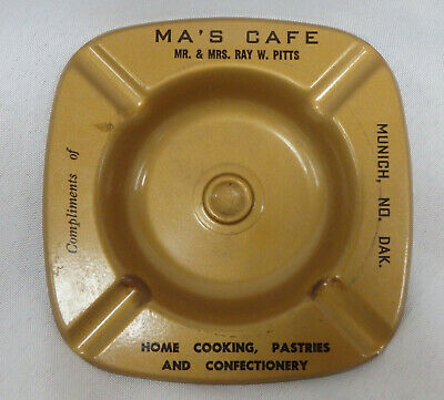 Vintage Ma's Café metal ashtray Munich North Dakota