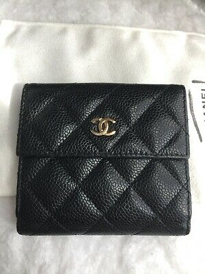 Chanel Trifold Black Caviar Gold Hardware wallet