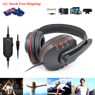 Gaming Headset Headphone w/ Microphone Volume Control for Sony PS4 PlayStation 4