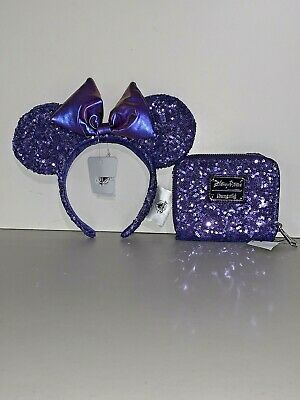 NWT Disney Parks Authentic Sequin POTION PURPLE BOW EARS & Loungefly WALLET 2019