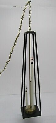 Vtg MCM 1960s Swag Lamp Light Fixture Pendant Candle Chandelier Brass Wood Black