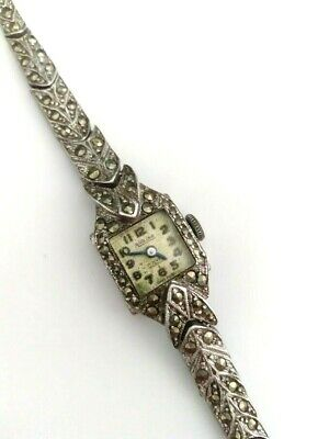 AIRLINE Vintage Marcasite Watch Working Wind Up Swiss Made - 17 Jewels Incabloc