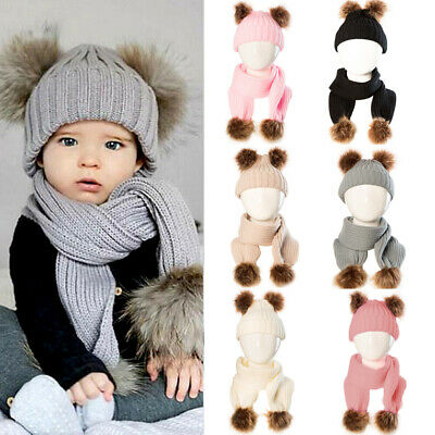 Baby Hat Large Pom Pom Bobble Beanie Shawl Scarves Winter Knitted Warm Boy Girl
