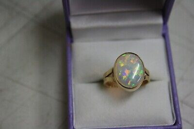 Solid Australian Opal Ring 9Ct Gold Marked Size-M1/2.