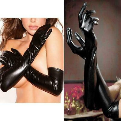 Sexy Women Wet Look Patent Leather Gloves Opera Prom Long Latex P1I5 Elbow G1U9