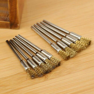 10 Pcs Mini Wire Brush Brushes Brass Cup Wheel For Grinder Or Drill Set