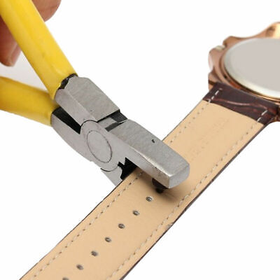 Universal Yellow Hand Leather Strap Watch Band Belt Hole Plier Tool Punch I2W1
