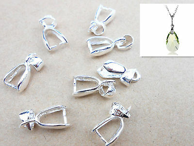 10x Sterling Silver Finding Bail Connector Bale Pinch Jewelry Clasp Pendant NEW