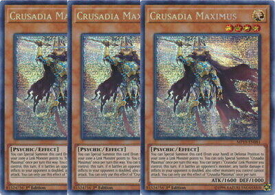 Yugioh Crusadia Maximus X3 Prismatic Secret Rare MP19 1st Ed Mint Playset