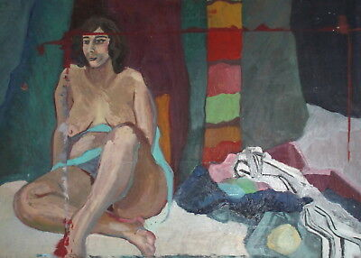 Vintage large expressionist oil painting nude woman portrait