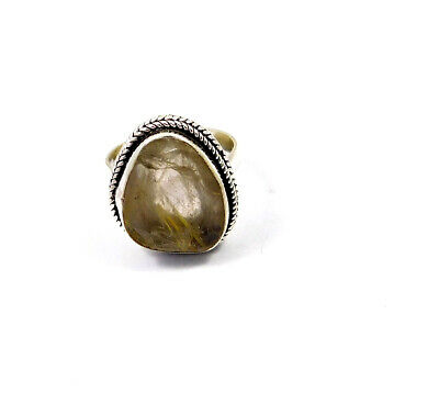 Golden Needle Rutile .925 Silver Plated Handmade Ring Size-8 Jewelry JC10254