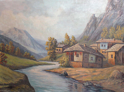 Vintage oil painting mountain village river landscape