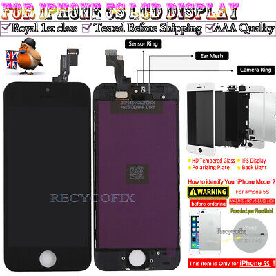For iPhone 5s Retina LCD Screen Replacement Touch Digitizer Display Black
