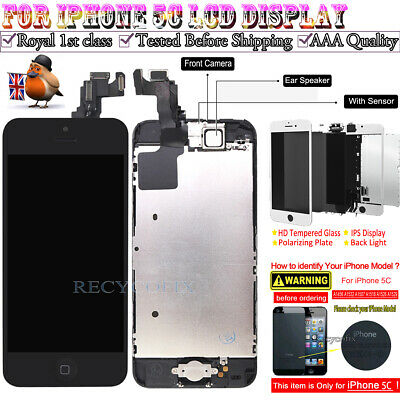 For iPhone 5C Retina LCD Screen Replacement Touch Digitizer Camera Button Black