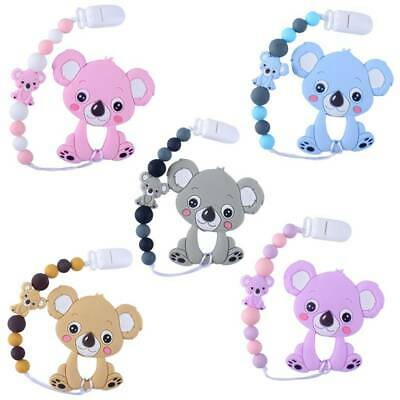 Infants Cartoon Koala Tooth Gel Pacifier Chain Newborn Baby Teether Molar Toy