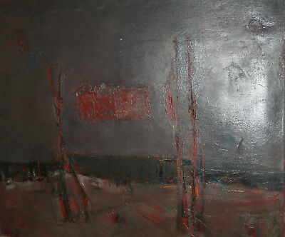 Vintage European large abstract oil painting landscape seascape signed