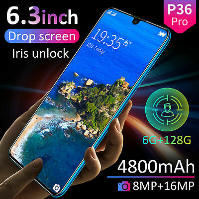 "6.3"" P36 Pro Android 9.1 Smart Mobile Phone 6GB+128GB Face ID Unlocked 4800mAh"