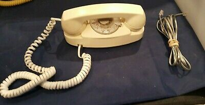 Vintage WHITE WESTERN ELECTRIC PRINCESS Rotary Desk Phone BELL SYSTEM TESTED