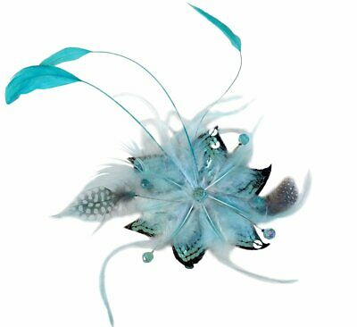 Janine Turquoise Feather Clip Fascinator Spring Carnival Wedding Derby Races