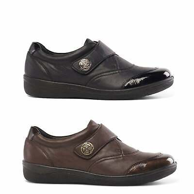 Padders GABY Ladies Womens Genuine Leather Wide (E Fit) Touch Fasten Flat Shoes