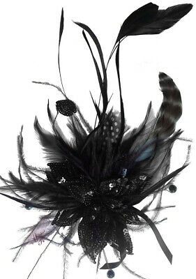 Paris Black Sequin Feathers Clip Fascinator Spring Carnival Wedding Derby Races