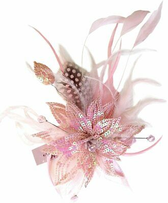 Paris Pink Sequin Feathers Clip Fascinator Spring Carnival Wedding Derby Races
