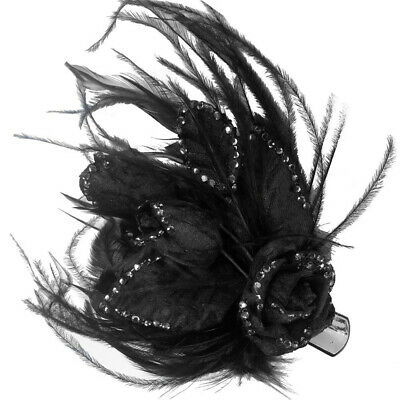 Vanessa Black Roses Feathers Clip Fascinator Spring Carnival Wedding Derby Races