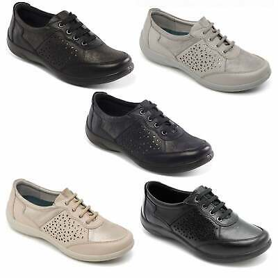 Padders HARP Ladies Womens Genuine Leather  Extra Wide (2E/3E) Lace Up Shoes