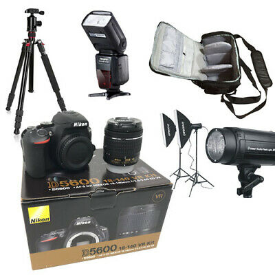 NEW Nikon D5600 + AFP 18-55 + Bag+Flash+Tripod+Lighting - UK NEXT DAY DEL