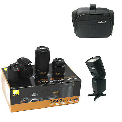 NEW Nikon D3500 + AFP 18-55 + AFP 70-300 + Bag + Flash - UK NEXT DAY DEL