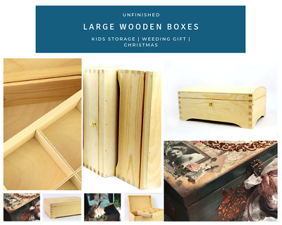 Unfinished Wooden Box Storage Wedding Gift Treasure Chest for DIY Craft Decou...